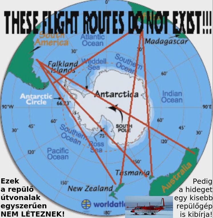 a lapos Föld bizonyítéka repülési útvonalak